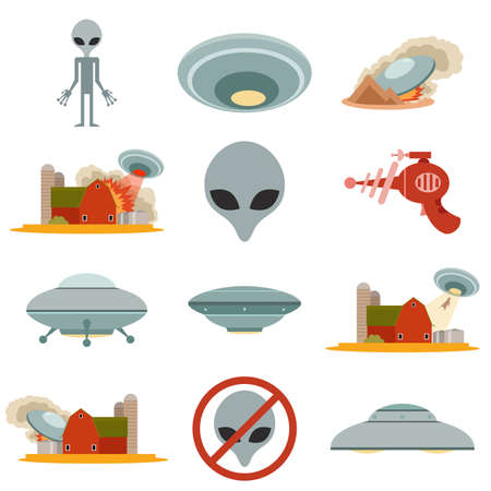 an invasion: Vector image of set of alien invasion