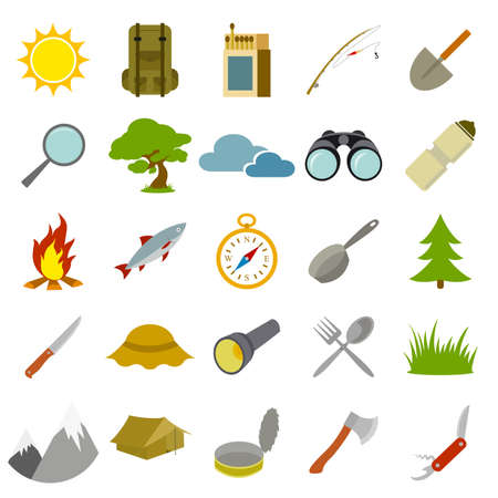 Vector image of set of flat tourism icons