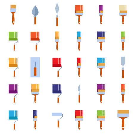 mage: Vector mage of a set of icons of burnishing tools
