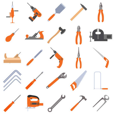 sander: Vector image of a collection of tool icons for building