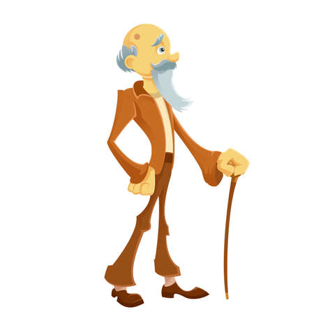 sander: Vector image of an old man with his brown stick
