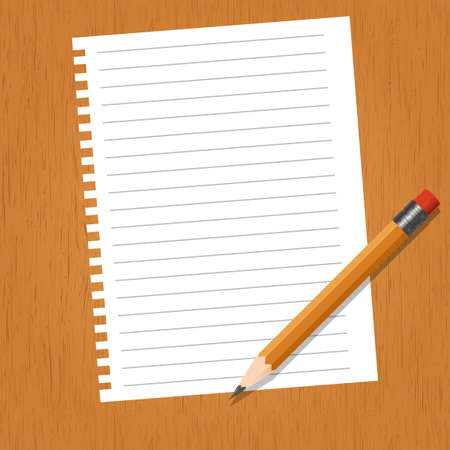 school work: Vector image of a sheet with lines and a pencil