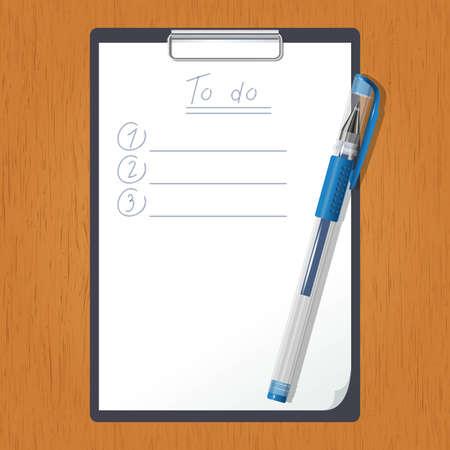prioridades: Vector de imagen de una tableta con la lista de hacer y el l�piz