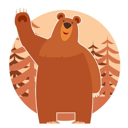 animales del zoo: Imagen vectorial de un cion plana con un oso y el bosque