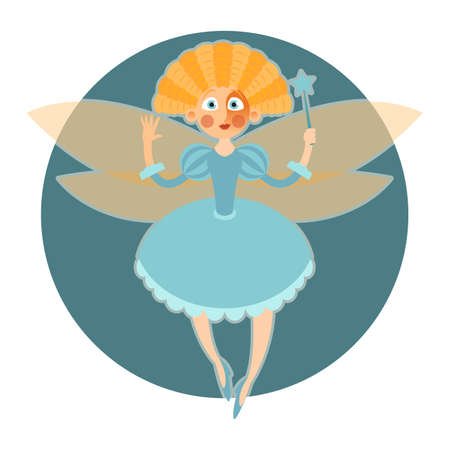 Vector image of a cartoon fantasy Fairy and her magic wand Illustration