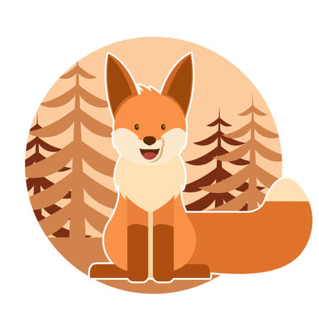 foxy: Vector image of a flat cion with a fox and  the forest