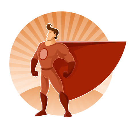Vector image with a man in red superhero suit Ilustracja