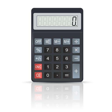 keypad: Vector image of realistic black Calculator with its shadow