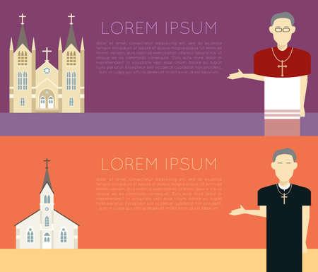 religion catolica: Vector de imagen de una bandera iglesia católica