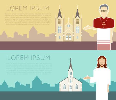 IGLESIA: Vector de imagen de una bandera iglesia cat�lica