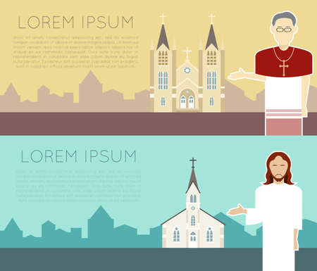 people in church: Vector image of a catholic church banner Illustration