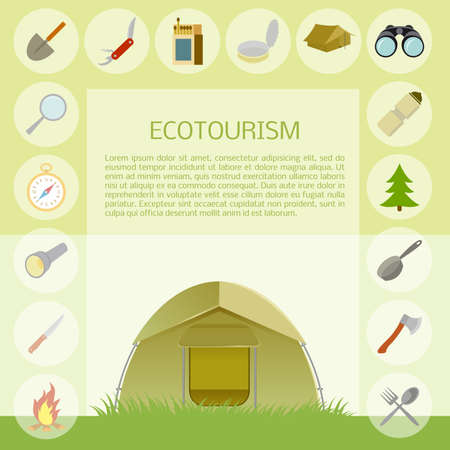 ecotourism: Vector image of a flat ecotourism banner