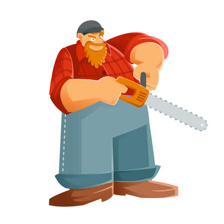 woodcutter: Vector image of a Woodcutter with his saw