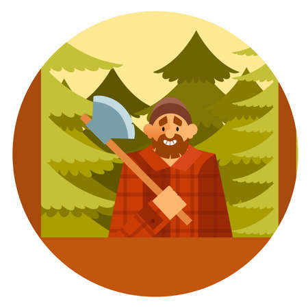 woodcutter: Vector image of a Woodcutter in the forest Illustration
