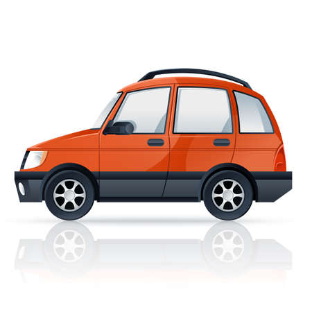 cartoony: image of an orange cartoony car