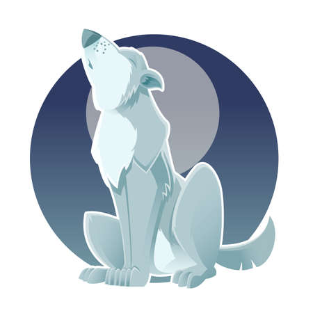 gray wolf: image of a gray wolf which howls at the moon Illustration