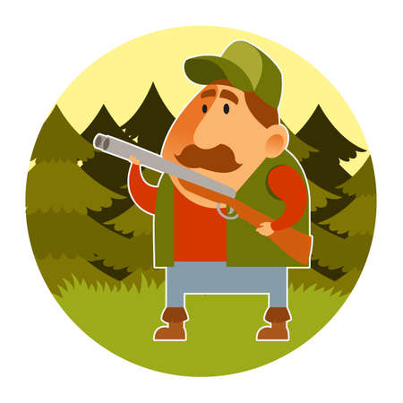 herdsman: Vector image of a cartoon hunter with the rifle Illustration