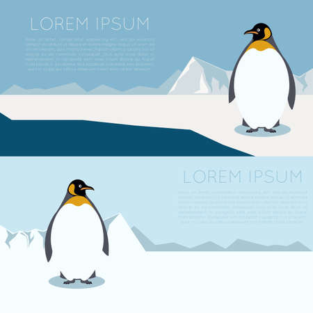 image of a banner with Antarctica and penguins Illustration