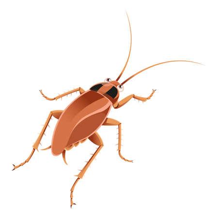 roach: Vector image of an cartoon brown cockroach