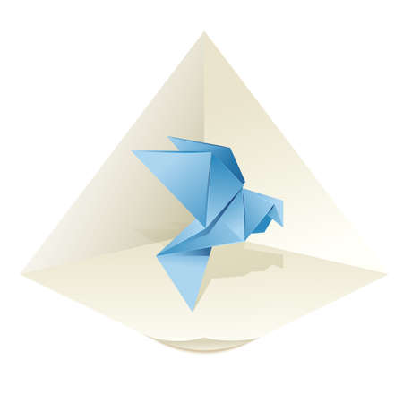 3d dove: image of an origamy blue pigeon Illustration