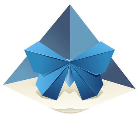 logo element: image of an origami blue butterfly