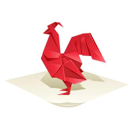 gallo: imagen de un gallo rojo origami