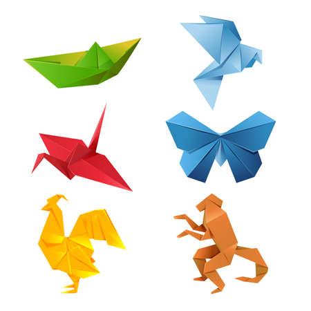 gallo: Imagen de un conjunto de coloridos animales de origami Vectores