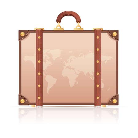maleta: Vector de imagen de una maleta con el mapa del mundo para el viaje