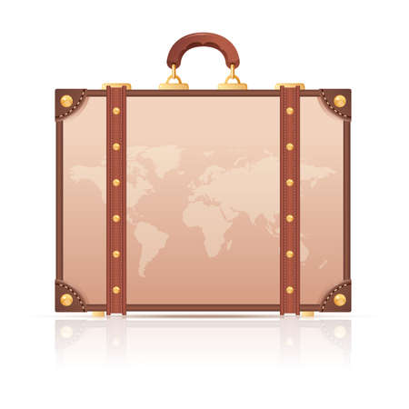 valigia: Vector immagine di una valigia con la mappa del mondo per il viaggio
