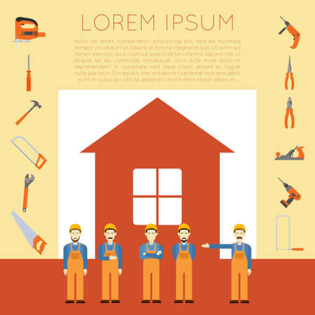 home improvement: Vector banner of masters with diffirent tools for home improvement and repair