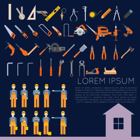 sander: Vector set of icons of tools for repair and home improvement