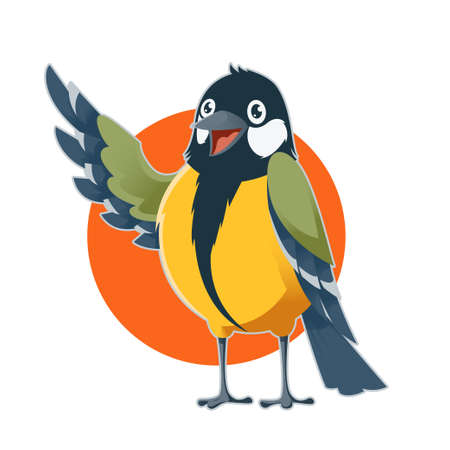 titmouse: Vector image of a happy cartoon greeting titmouse Illustration