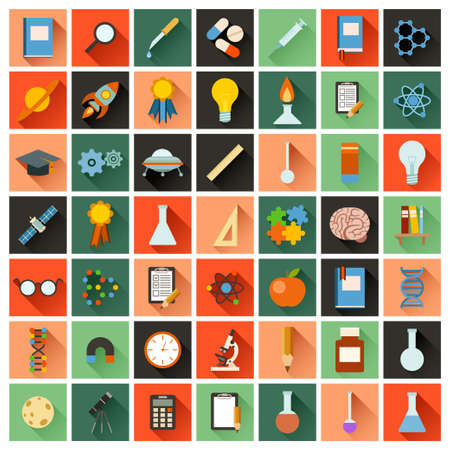 Vector image of a set of flat sciense icons Stok Fotoğraf - 47424670