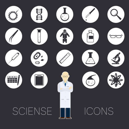 bacteria microscope: Vector image of a set of round sciense icons