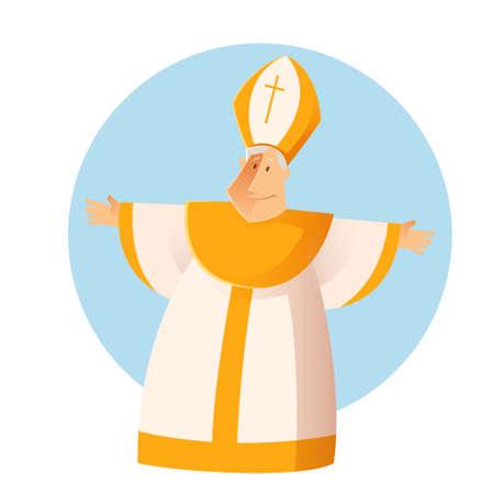 sacerdote: Vector de imagen de un feliz Saludo catolic Papa Vectores