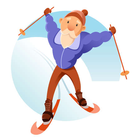 people in action: Vector image of an old senior on the skis