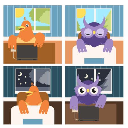 sowa: Vector obraz sowy i skowronki w dzień iw nocy