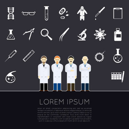 spermatozoon: Vector image of a set of white sciense icons Illustration