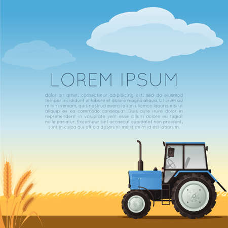 oat field: Vector image of an Agriculture banner with a tractor