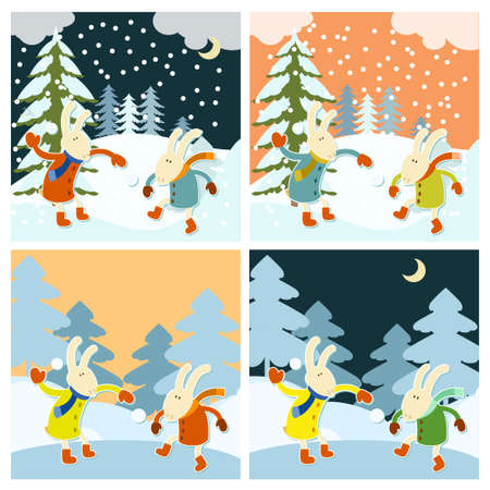 animal background: Vector image of winter games of hares