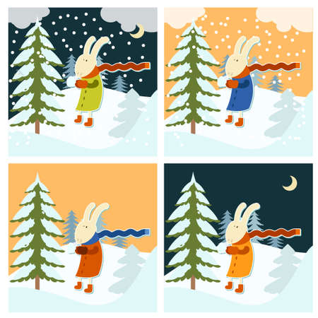 freeze: Vector image of a Hare who freeze at winter Illustration