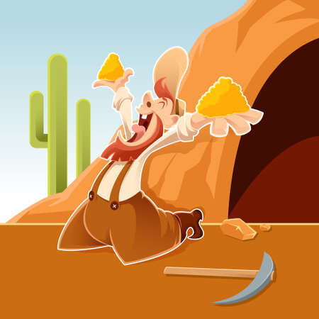 Vector image of an happy cartoon Prospector Illustration
