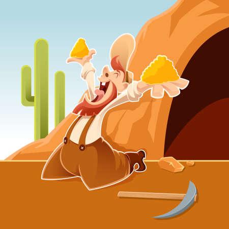 Vector image of an happy cartoon Prospector Vector Illustration