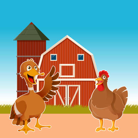 henhouse: Vector image of a banner with farm and cartoon chicken and duck