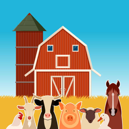 Vector image of a banner with the flat  farm animals