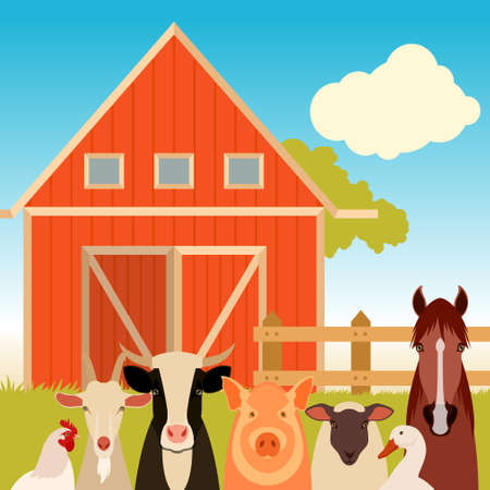 cows red barn: Vector image of a banner with the flat  farm animals
