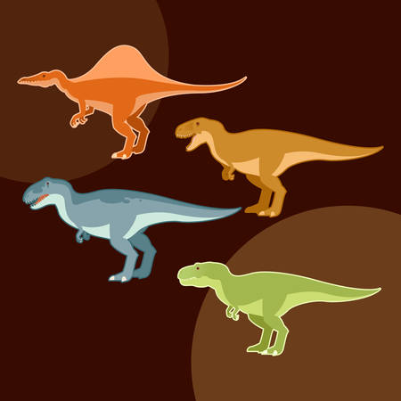 carnivore: Vector image of a Set of carnivore dinosaurs like t-rex