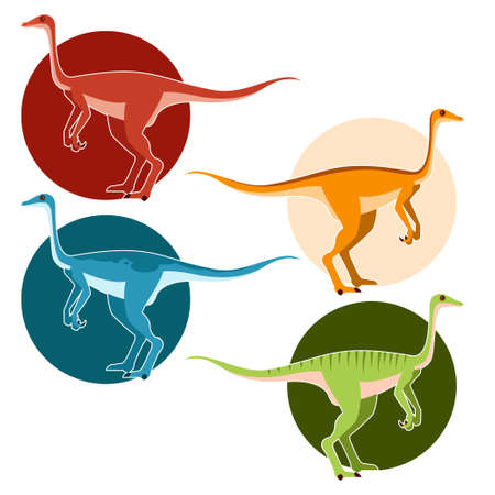 Vector image of a set of ostrich dinosaurs