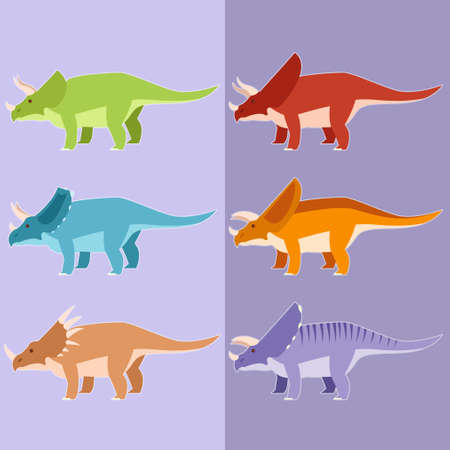 horned: Vector image of a set of diffirent horned dinosaurs