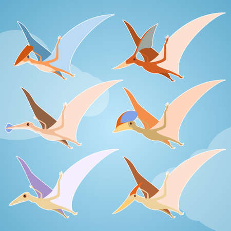 pteranodon: Vector image of a set of diffirent pterosaurs Illustration